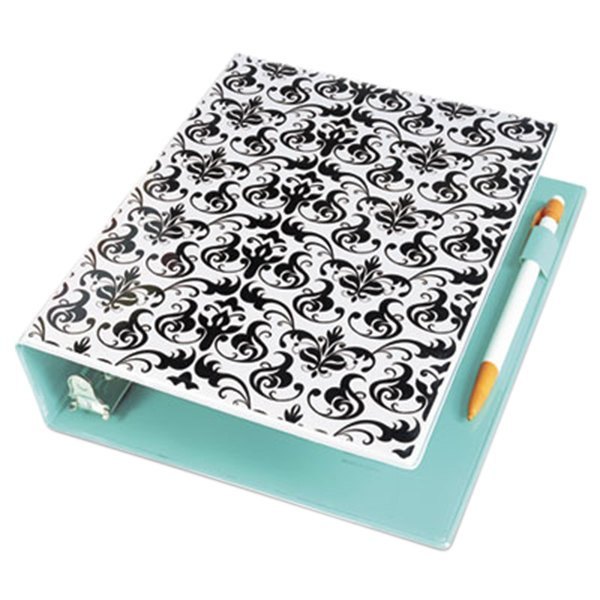 """Avery 18445 Damask/Light Blue Mini Durable Non-View Style Binder with 1"""" Round Rings Main Image 1"""