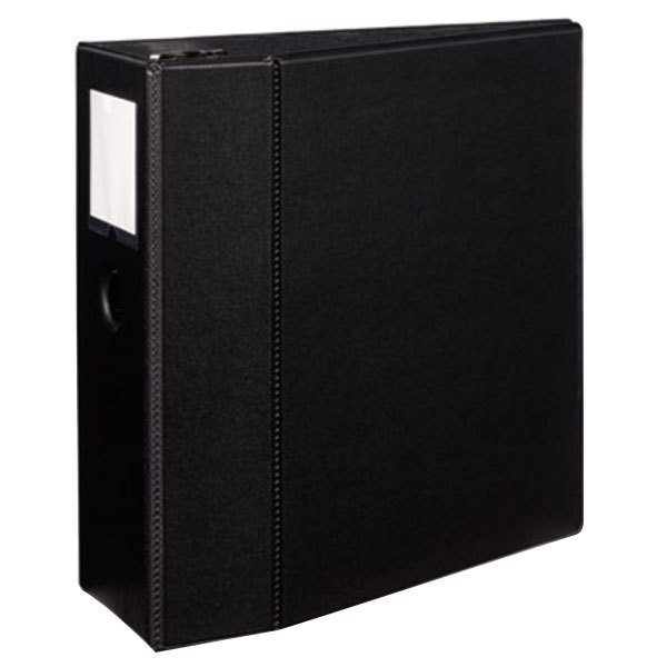 Avery 8901 Black Durable Non-View Binder with 5 inch Locking One Touch EZD Rings, Thumb Notch, and Spine Label Holder
