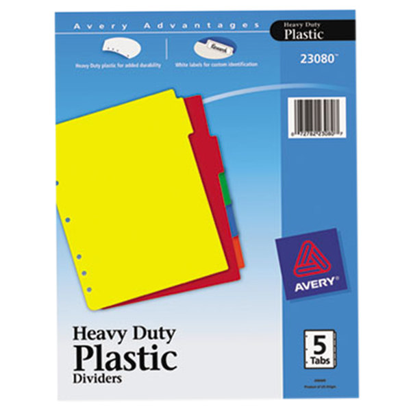 Avery 23080 5-Tab Heavy-Duty Plastic Multi-Color Dividers with Write-On Labels Main Image 1
