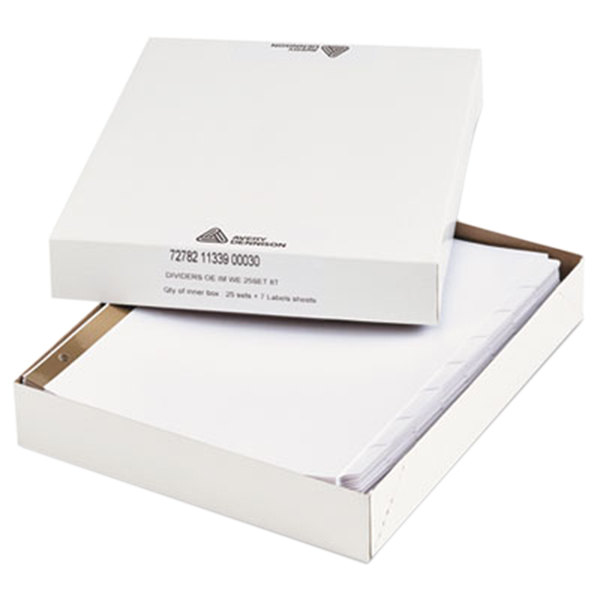 Avery Office Essentials 11339 8-Tab White Index Divider Set - 25/Box Main Image 1