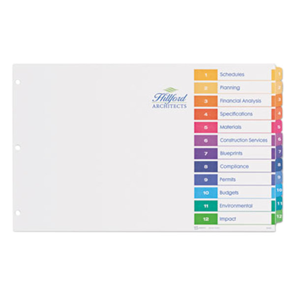 Avery 11149 Ready Index Ledger Size 12-Tab Multi-Color Table of Contents Dividers Main Image 1