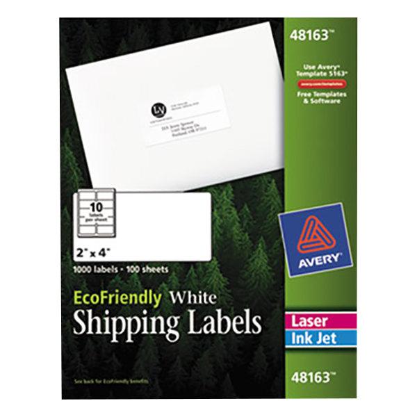 "Avery 48163 EcoFriendly 2"" x 4"" White Easy Peel Shipping Labels - 1000/Box Main Image 1"