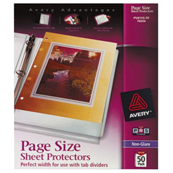 "Avery 74204 8 1/2"" x 11"" Nonglare Heavyweight Top-Load Sheet Protector, Letter - 50/Box Main Image 1"