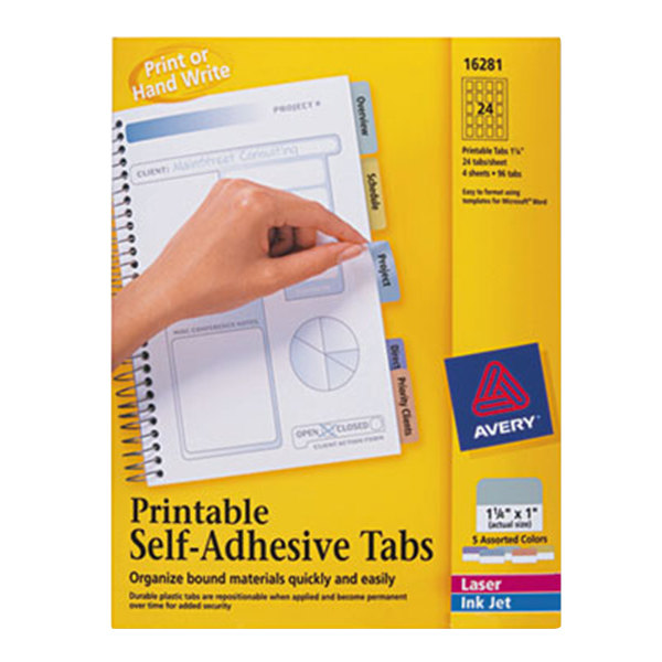 "Avery 16281 1 1/4"" Assorted Color Printable Tabs with Repositionable Adhesive - 96/Pack Main Image 1"
