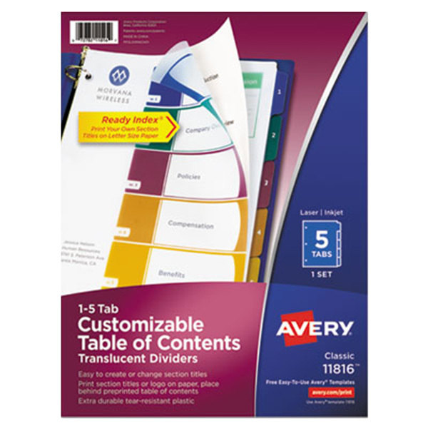Avery 11816 Ready Index 5-Tab Multi-Color Plastic Table of Contents Dividers