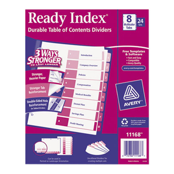 Avery 11168 Ready Index 8-Tab Multi-Color Table of Contents Divider Set - 24/Box Main Image 1