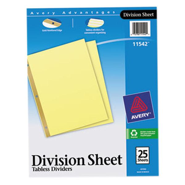 Avery 11542 Untabbed Buff Paper 25-Divider Set Main Image 1