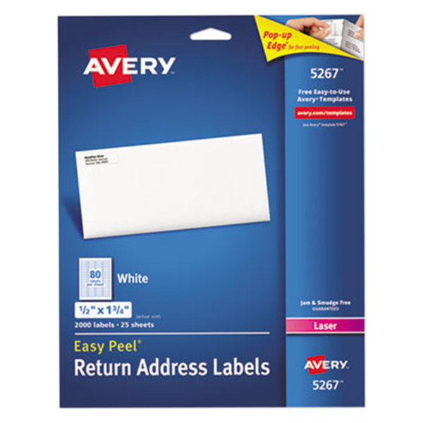 "Avery 5267 Easy Peel 1/2"" x 1 3/4"" Printable Return Address Labels - 2000/Pack Main Image 1"