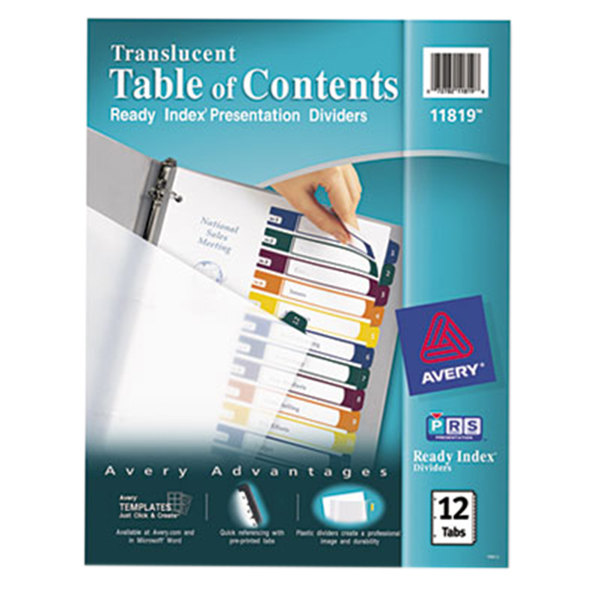 Avery 11819 Ready Index 12-Tab Multi-Color Customizable Table of Contents Dividers