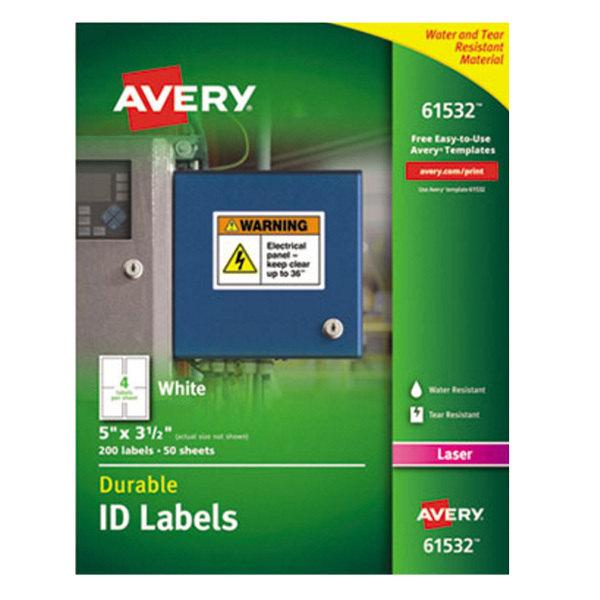 """Avery 61532 TrueBlock 5"""" x 3 1/2"""" White ID Labels - 200/Pack Main Image 1"""