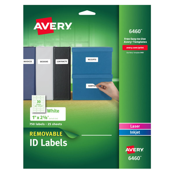 "Avery 6460 1"" x 2 5/8"" White Removable ID Labels - 750/Pack"
