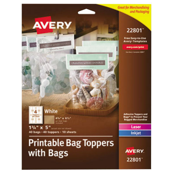 """Avery 22801 1 3/4"""" x 5"""" White Printable Bag Toppers with Bags - 40/Pack Main Image 1"""