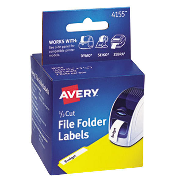 Avery 4155 1/3 Cut White Thermal File Folder Labels - 260/Box Main Image 1