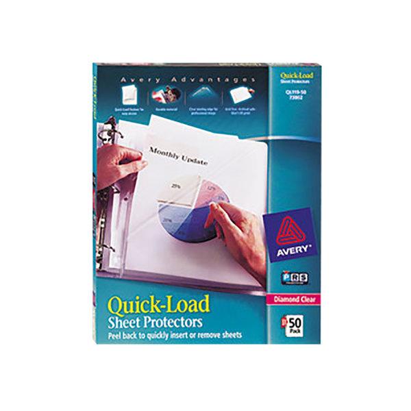 "Avery 73802 Quick Load 8 1/2"" x 11"" Diamond Clear Acid-Free Sheet Protectors - 50/Box"