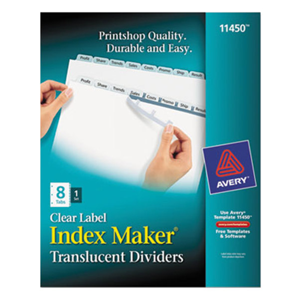 Avery 11450 Index Maker 8-Tab Plastic Divider Set with Clear Label Strip Main Image 1