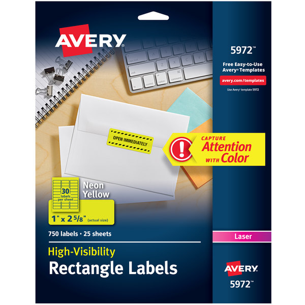 """Avery 5972 1"""" x 2 5/8"""" High-Visibility Neon Yellow ID Labels - 750/Pack"""
