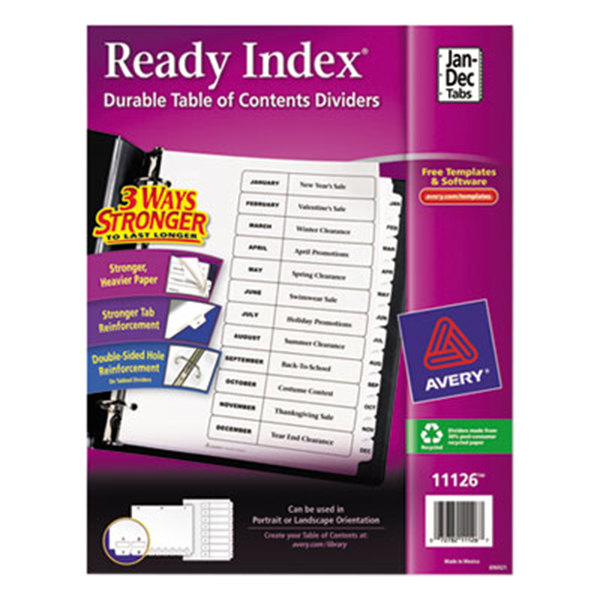 Avery 11126 Ready Index Monthly White Table of Contents Dividers Main Image 1