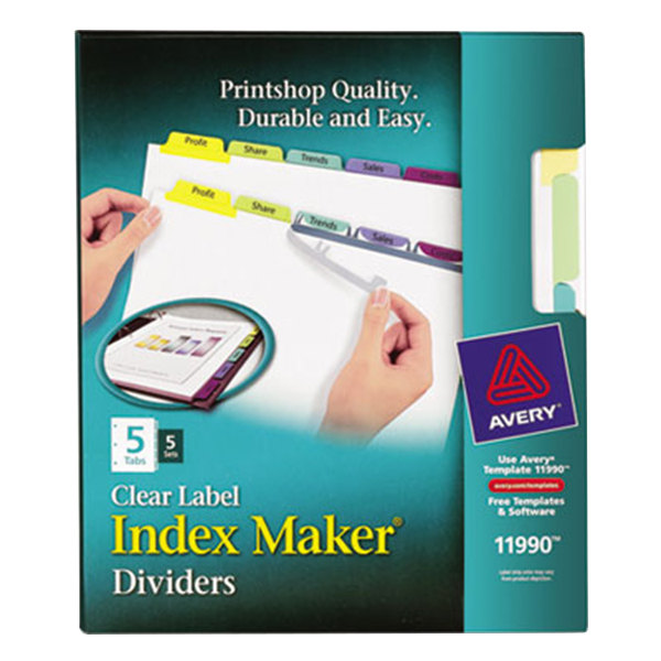 Avery 11990 Index Maker 5-Tab Multi-Color Divider Set with Clear Label Strip - 5/Pack Main Image 1