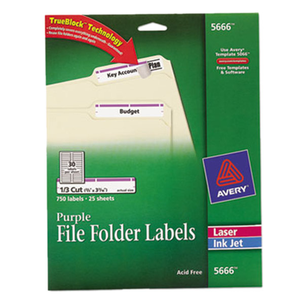 "Avery 5666 TrueBlock 2/3"" x 3 7/16"" Purple File Folder Labels - 750/Pack Main Image 1"