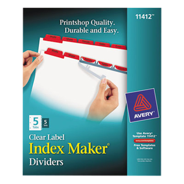 Avery 11412 Index Maker 5 Tab Red Divider Set With Clear Label