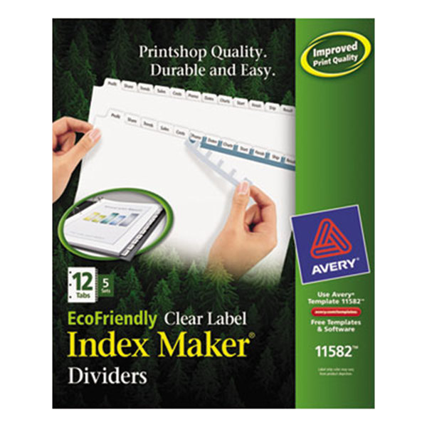 Avery 11582 EcoFriendly Index Maker 12-Tab White Divider Set with Clear Label Strips - 5/Pack Main Image 1