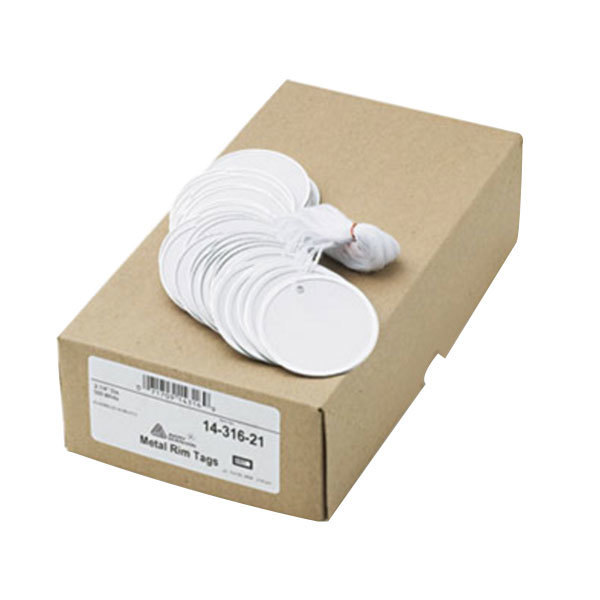 "Avery 14316 2 1/4"" White Heavy Weight Metal Rim Tag - 500/Box Main Image 1"
