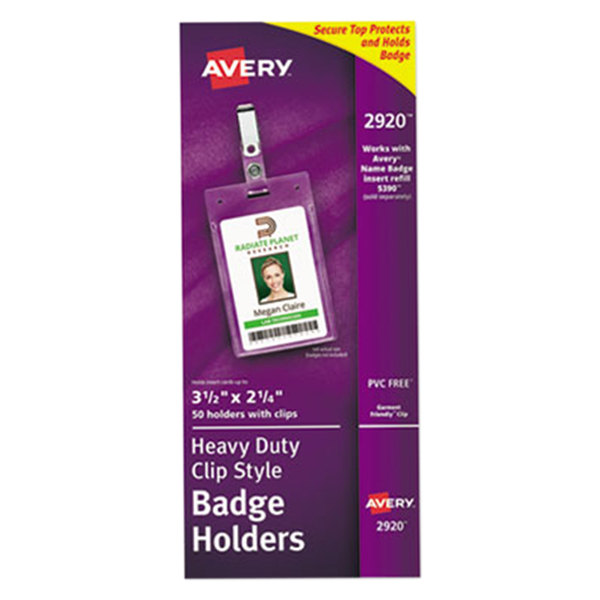 """Avery 2920 3 1/2"""" x 2 1/4"""" Clear Vertical Clip-Style Badge Holders - 50/Pack"""