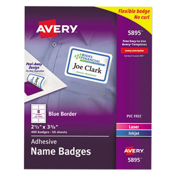 "Avery 5895 2 3/8"" x 3 3/8"" White / Blue Flexible Self-Adhesive Laser / Inkjet Name Badge Label - 400/Pack"