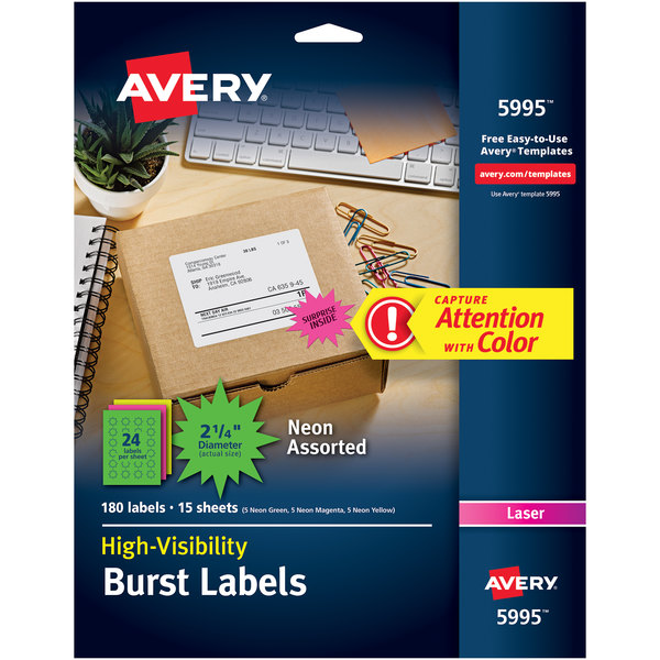 """Avery 5995 2 1/4"""" Assorted Neon Color High-Visibility ID Label Bursts - 180/Pack"""