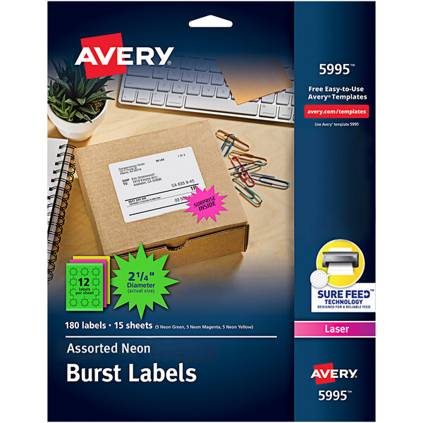 "Avery 5995 2 1/4"" Assorted Neon Color High-Visibility ID Label Bursts - 180/Pack Main Image 1"