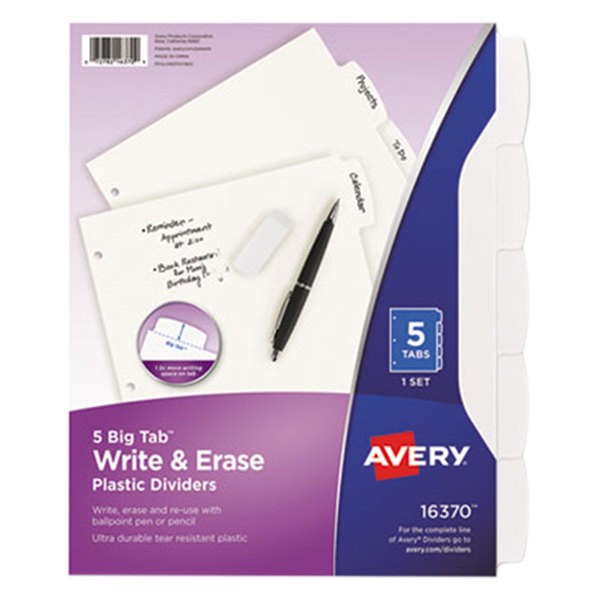 Avery 16370 Big Tab 5-Tab Write and Erase Durable Plastic Dividers