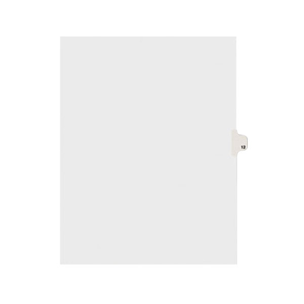 Avery 11922 Individual Legal Exhibit #12 Side Tab Divider - 25/Pack