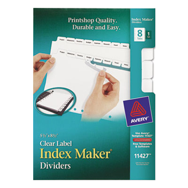 Avery 11427 Mini Index Maker 8-Tab White Dividers with Clear Label Strip