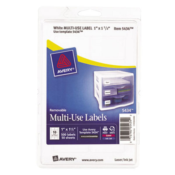 "Avery 5434 1"" x 1 1/2"" White Rectangular Removable Write-On / Printable Labels - 500/Pack"