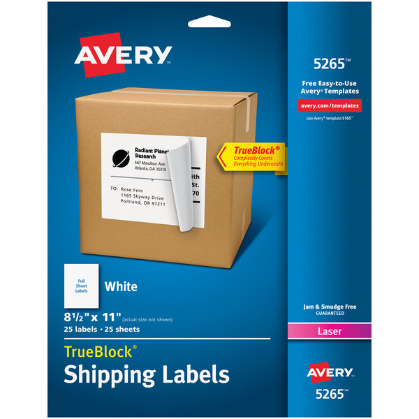 "Avery 5265 TrueBlock 8 1/2"" x 11"" White Shipping Labels - 25/Pack"