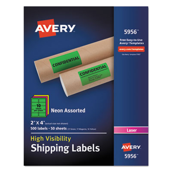 "Avery 5956 2"" x 4"" Assorted Neon Shipping Labels - 500/Box"