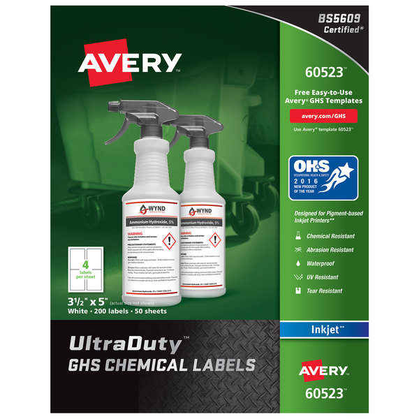 "Avery 60523 3 1/2"" x 5"" White Easy Peel UltraDuty Chemical Labels - 200/Pack Main Image 1"