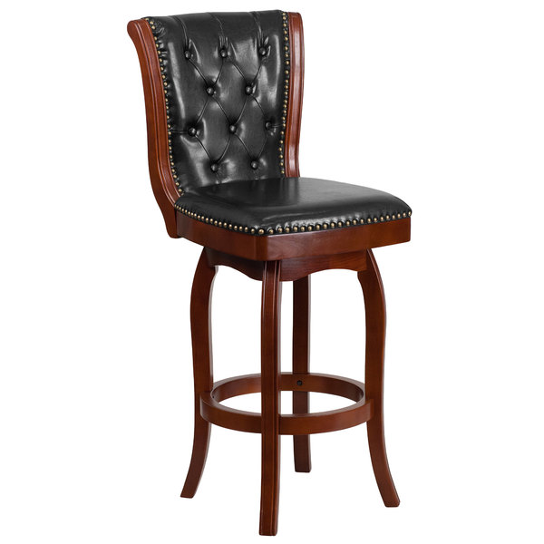 Flash Furniture TA-240130-CHY-GG Cherry Wood Bar Height Button Tufted Back Stool with Black Leather Swivel Seat