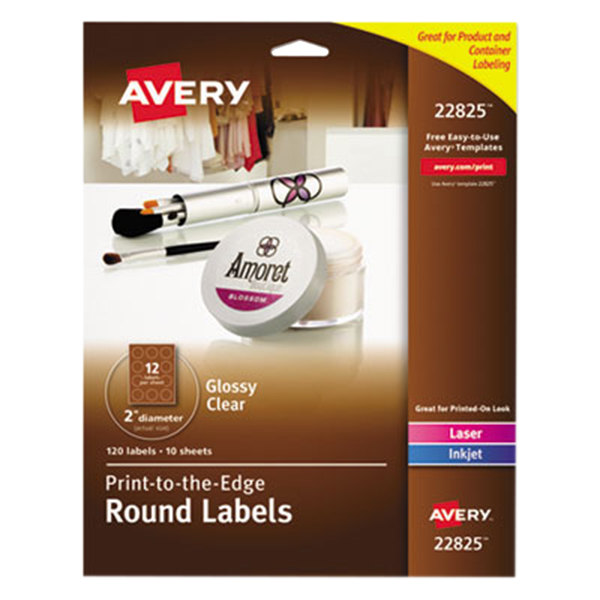 """Avery 22825 Easy Peel 2"""" Clear Glossy Round Print-to-the-Edge Labels - 120/Pack"""