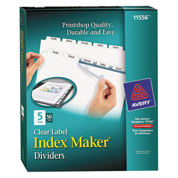Avery 11556 Index Maker 5-Tab Divider Set with Clear Label Strips - 50/Box Main Image 1