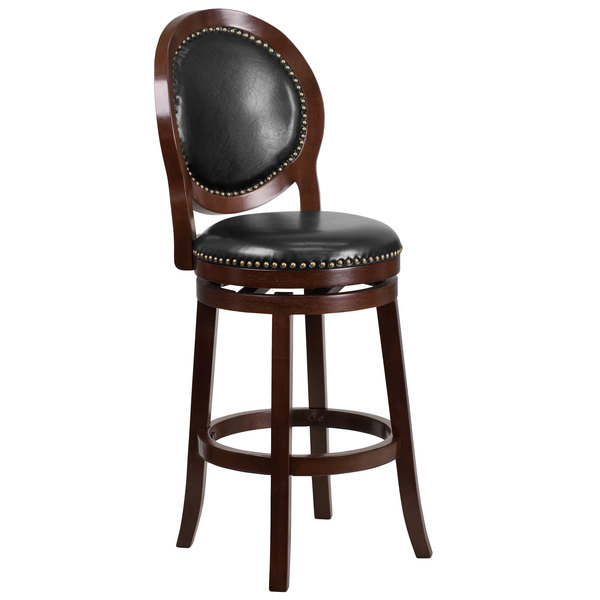 Flash Furniture Ta 550130 Ca Gg Cuccino Wood Bar Height Oval Back Stool With Black Leather Swivel Seat