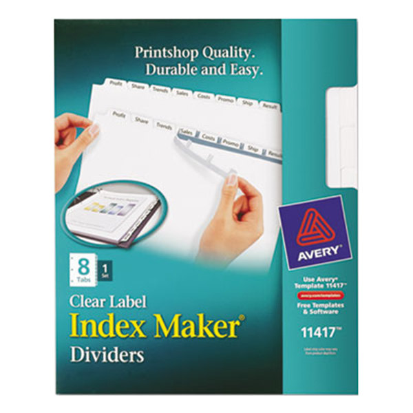 Avery 11417 Index Maker 8-Tab White Divider Set with Clear Label Strip Main Image 1