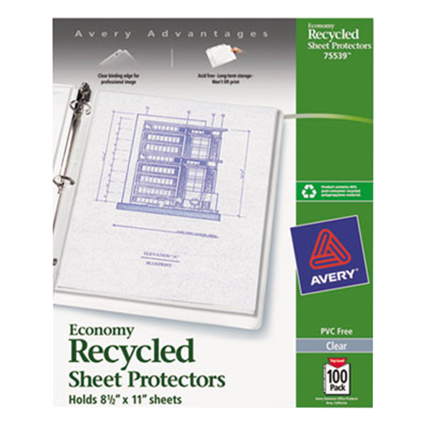 """Avery 75539 8 1/2"""" x 11"""" Clear Economy Weight Recycled Polypropylene Top-Load Sheet Protector, Letter - 100/Pack Main Image 1"""