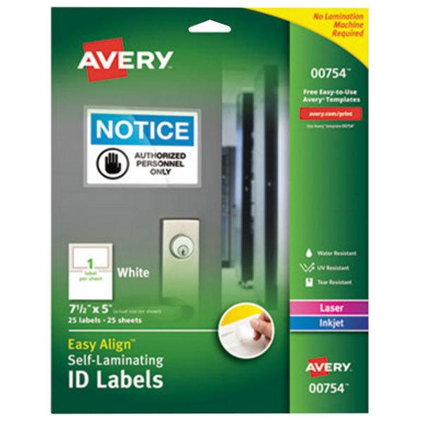 "Avery 754 Easy Align 5"" x 7 1/2"" White Rectangular Printable Self-Laminating ID Labels - 25/Pack"