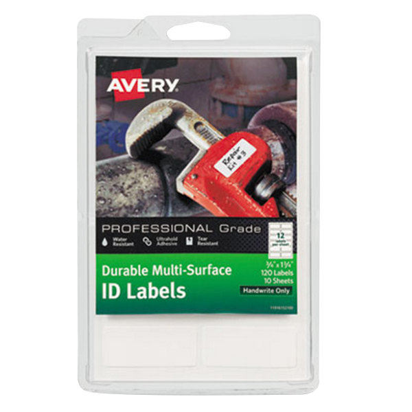 """Avery 61521 3/4"""" x 1 3/4"""" White Multi-Surface ID Labels - 120/Pack"""