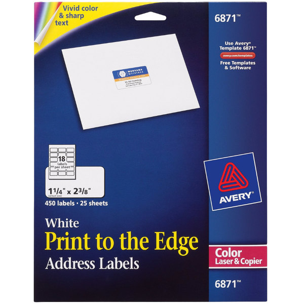 Avery 6871 1 4 X 2 3 8 White Print To The Edge Address Labels