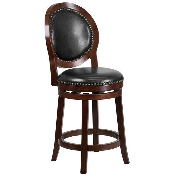 Flash Furniture TA-550126-CA-GG Cappuccino Wood Counter Height Oval Back Stool with Black Leather Swivel Seat Main Image 1