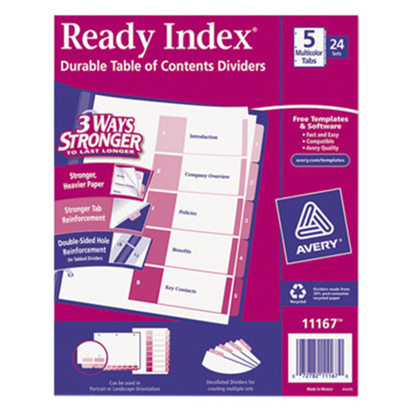 Avery 11167 Ready Index 5-Tab Multi-Color Table of Contents Divider Set - 24/Box Main Image 1