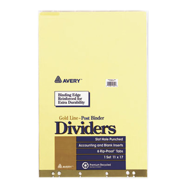 Avery 11644 Gold Line Post Binder Ledger Size 6-Tab Insertable Tab Dividers Main Image 1