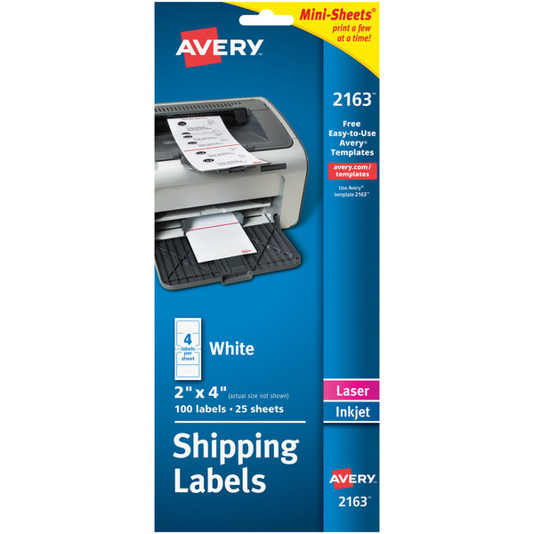 "Avery 2163 Mini-Sheets 2"" x 4"" White Shipping Labels - 100/Pack Main Image 1"
